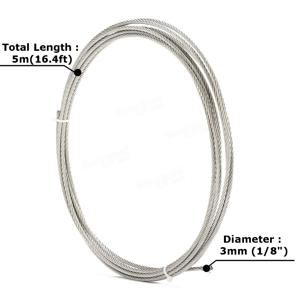 5m 16 4ft 7x7 304 Stainless Steel Cable Wire Rope 3mm Sale