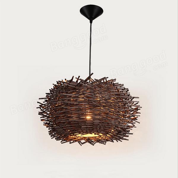 Creative Bird Nest Shape Chandelier Light Hand Woven Rattan Art Pendant Lamp