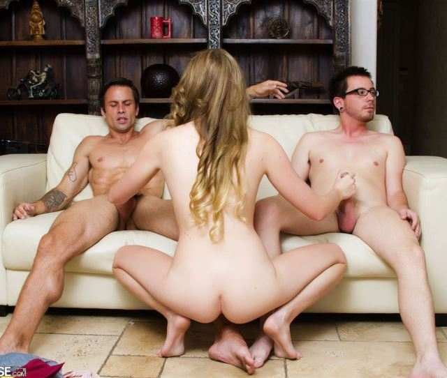 Jessie Andrews Screws Two Hard Cocks At Once On A Couch Main Image
