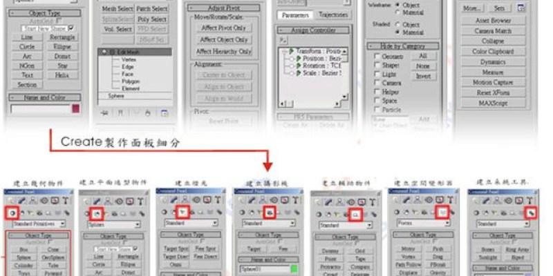 【3D MAX教學】COMMAND PANEL指令面板