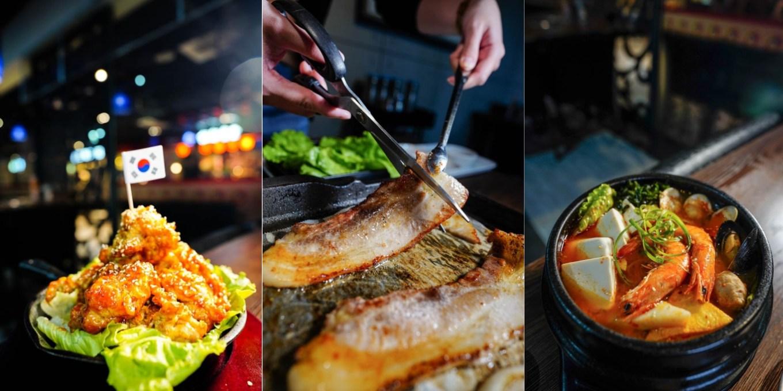 楠梓美食 南大門韓式料理新楠店-家樂福新楠店美食街,雙人韓式烤豬五花套餐1099元,整套大滿足