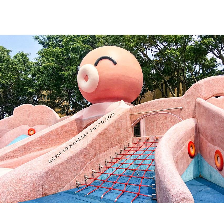 【新北】。板橋章魚溜滑梯「溪北生態公園」 Q版章魚哥沙坑鞦韆!