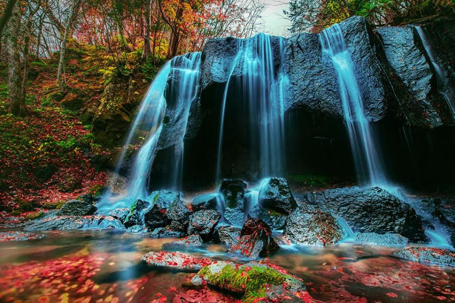 【福島】。東北紅葉瀑布拍攝景點《達沢不動滝》