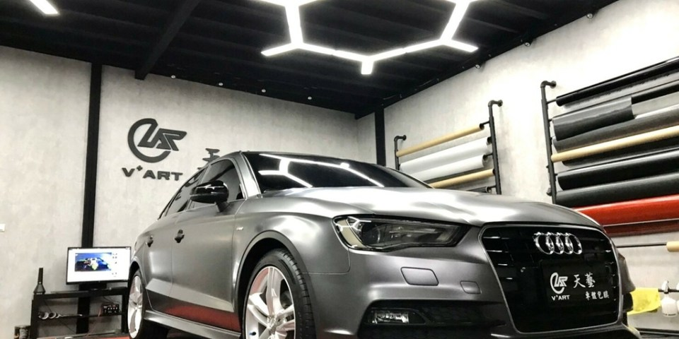 【台中汽車包膜】VART 天藝車體包膜&客製化設計|奧迪Audi A3車體包膜|3M絲綢灰汽車包膜|替愛車多一層保護|客製化汽車包膜推薦