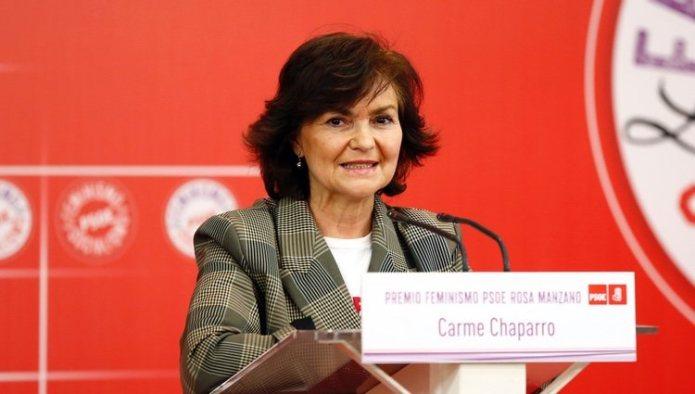 Carmen Calvo in an act in favor of feminism