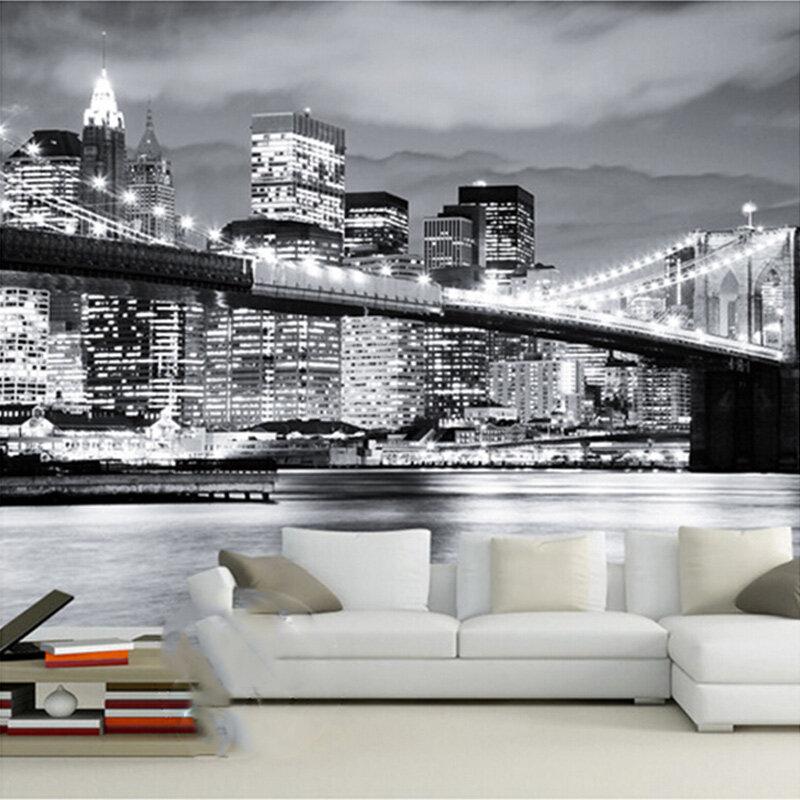 Arreda con la carta da parati londonart, design italiano. Murale Personalizzato Night View Manhattan Ponte Di New York Citta Europee E Americane In Bianco E Nero Soggiorno Sfondo Carta Da Parati Pittura E Trattamento Delle Pareti
