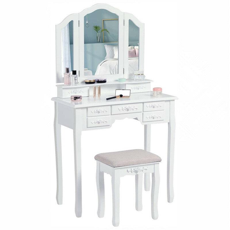 Dove collocare uno specchio e contenitori per i nostri adorati cosmetici;. Toilette Moderna Per Trucco Con Specchio A Tre Pieghe E 7 Cassetti Per Riporre Lo Sgabello Imbottito Da Scrivania Arredamento Casa