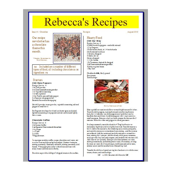 Tips for Creating a Recipe Newsletter or Cooking Pamphlet ...