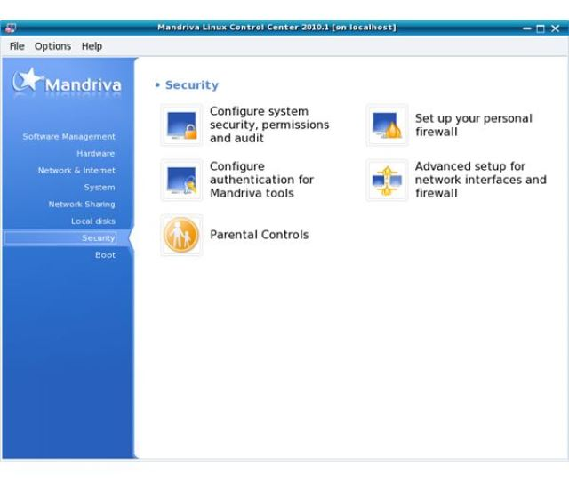 Mandriva Linux Control Centers Security Section