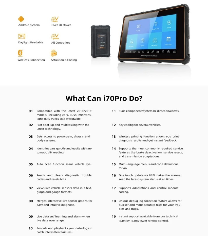 Foxwell i70ProPremier Diagnostic Platform Can Do