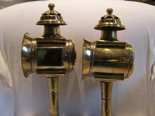 A Pair Of Reproduction Brass Carriage