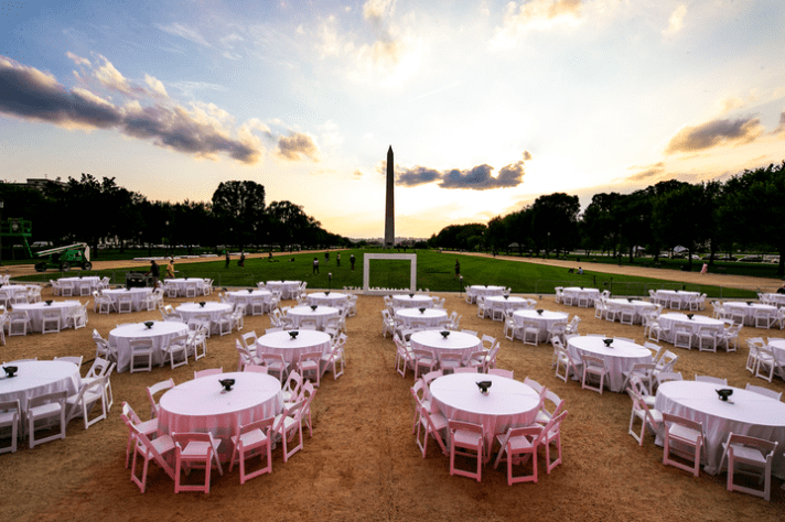 "On Aug. 5, the Live Events Coalition, in conjunction with the DC Event Coalition, hosted an ""Empty Event"" with 48 tables on the National Mall in Washington, D.C."