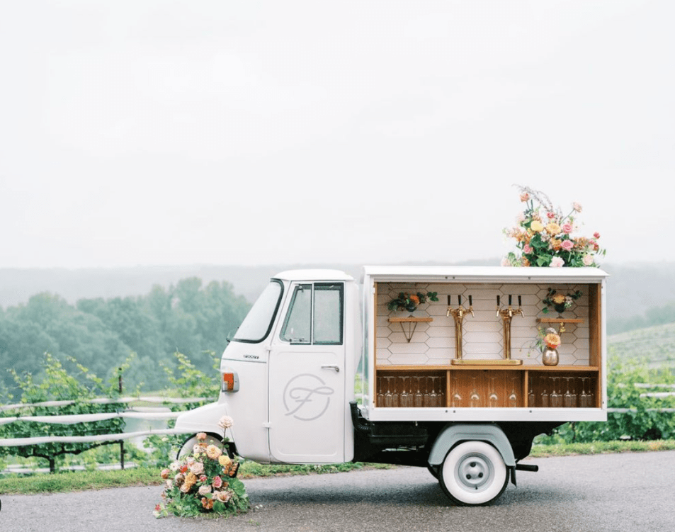 Especially popular for intimate gatherings, the mobile bar truck seems to be a trend that's stood the test of time. This quaint white truck, in particular, belongs to Atlanta-based mobile bartending company Fizzy Atlanta Co.—which also has a mobile coffee cart business, Frothy Coffee & Goods. Both trucks are available for rent for private events in the metro Atlanta and North Georgia areas.