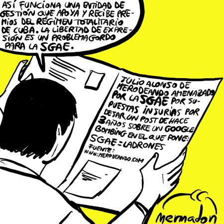 Dibujo sobre burofax de SGAE a Merodeando