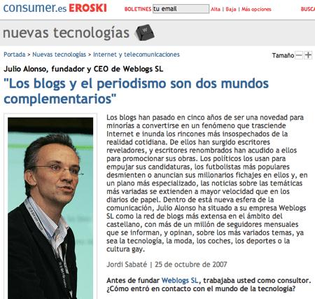 Entrevista a Julio Alonso en Consumer