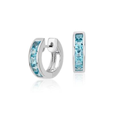 Blue Topaz Hinged Hoop Earrings In Sterling Silver 3mm
