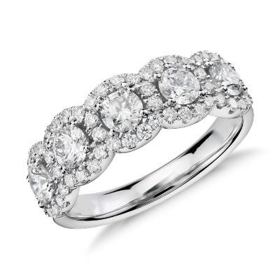 Diamond Five Stone Halo Ring In 18k White Gold Blue Nile
