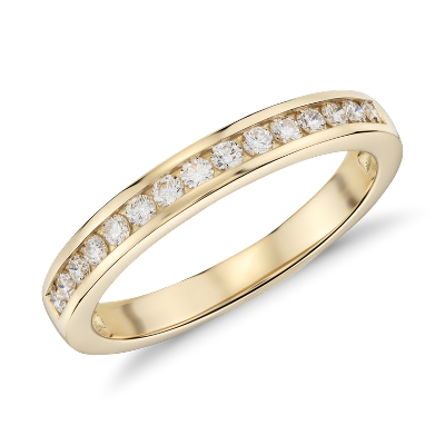 Channel Set Diamond Ring In 18k Yellow Gold 14 Ct Tw