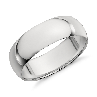 Mid Weight Comfort Fit Wedding Band In Platinum 7mm