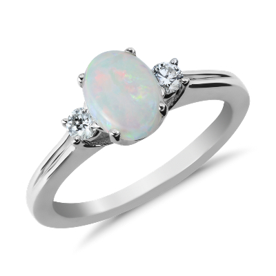 Opal And Diamond Ring In 18k White Gold 8x6mm Blue Nile