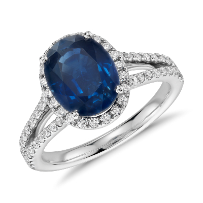 Oval Sapphire And Diamond Split Shank Ring In 18k White