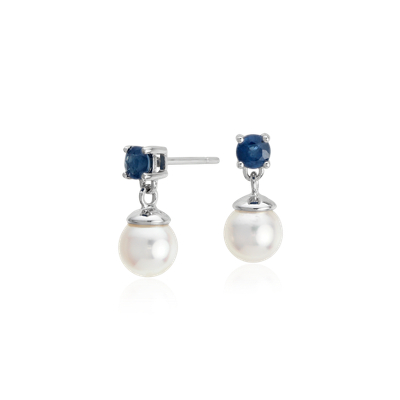 Akoya Cultured Pearl And Sapphire Drop Earrings In 18k
