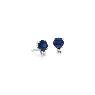 Sapphire And Diamond Stud Earrings In 18k White Gold 5mm