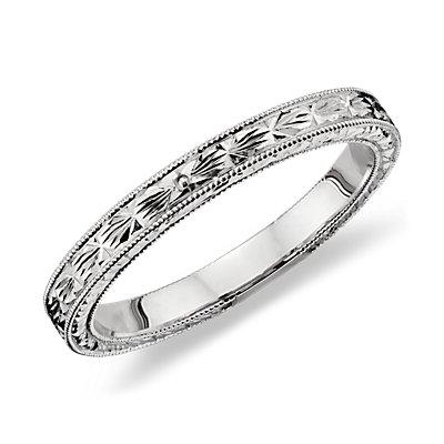 Hand Engraved Wedding Ring In 14k White Gold Blue Nile