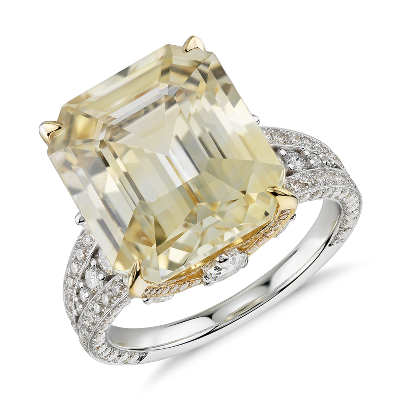 Emerald Cut Yellow Sapphire And Diamond Ring In 18k White