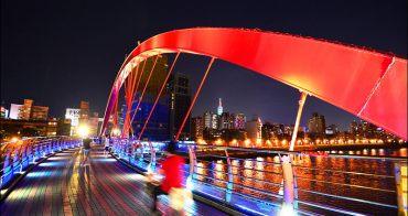 台北搭捷運看夜景》饒河街夜市彩虹橋,連結夜市與彩虹河濱公園,串起自行車河岸路線