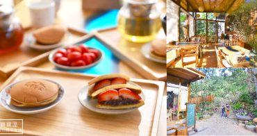 苗栗銅鑼》雙峰草堂創意銅鑼燒茶屋,木造玻璃屋享用季節限定草莓銅鑼燒、手沖咖啡、杭菊花茶好對味