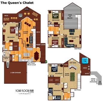 floor plan at The Queens Chalet in Gatlinburg TN