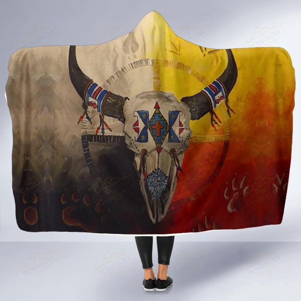 Bison Medicine Wheels Native American Hooded Blanket