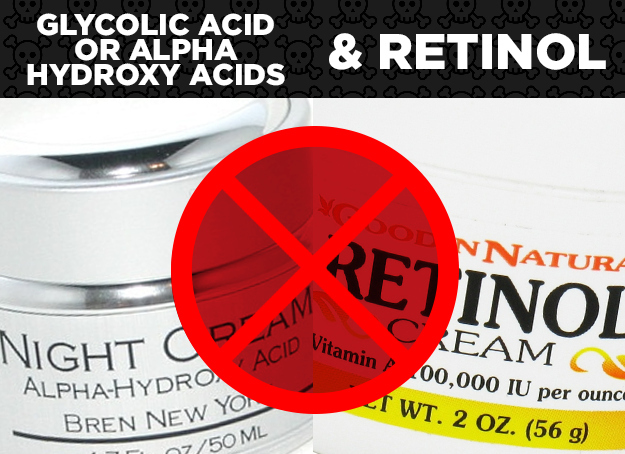 Glycolic Acid/AHAs + Retinol = Ineffective Skincare