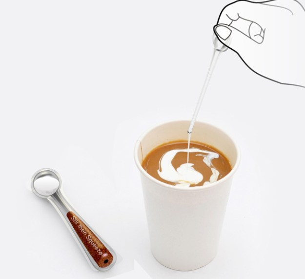A spoon that contains creamer so you just squeeze and stir.