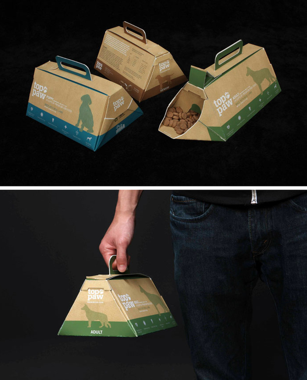 Portable, on-the-go dog food packaging with a built-in bowl.