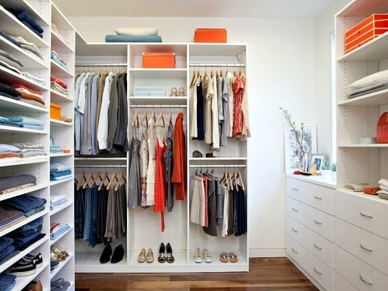 Organized Closets Clean Closet Organized Closet Space with Built In White Shelves and Drawers
