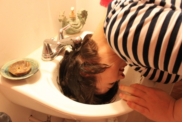 "If you have especially thick hair that takes forever to dry, try ""half-washing it"" in the sink."