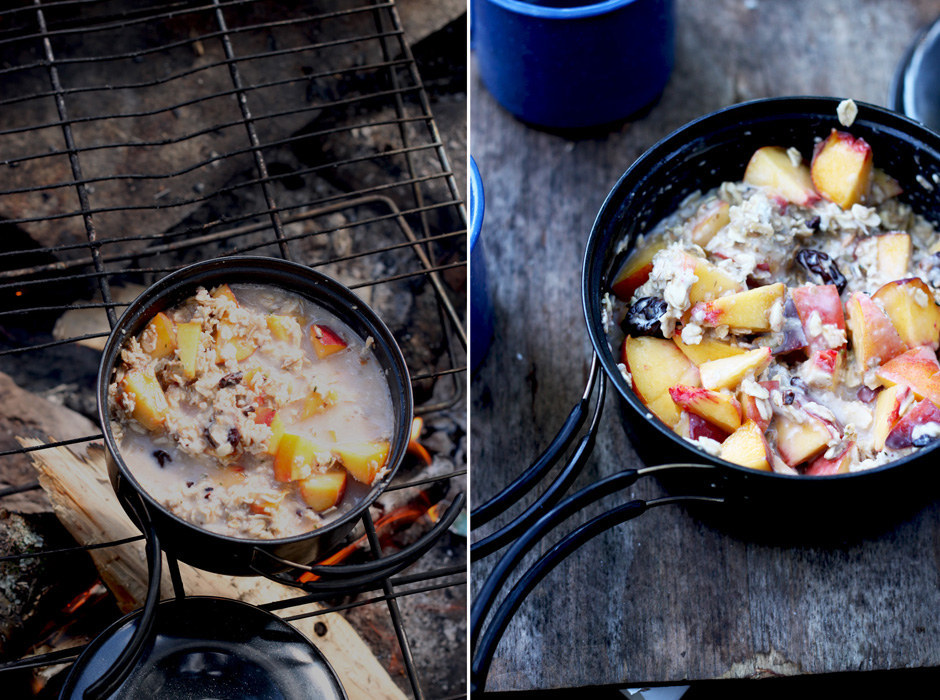 """Make instant oatmeal """"packets"""" by combining oats, dried fruit, nuts, seeds, and sugar in advance, then just boil it with water over a campfire. Fresh fruit optional. Recipe here."""