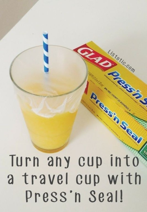 Turn any cup into a travel cup with Press n' Seal.