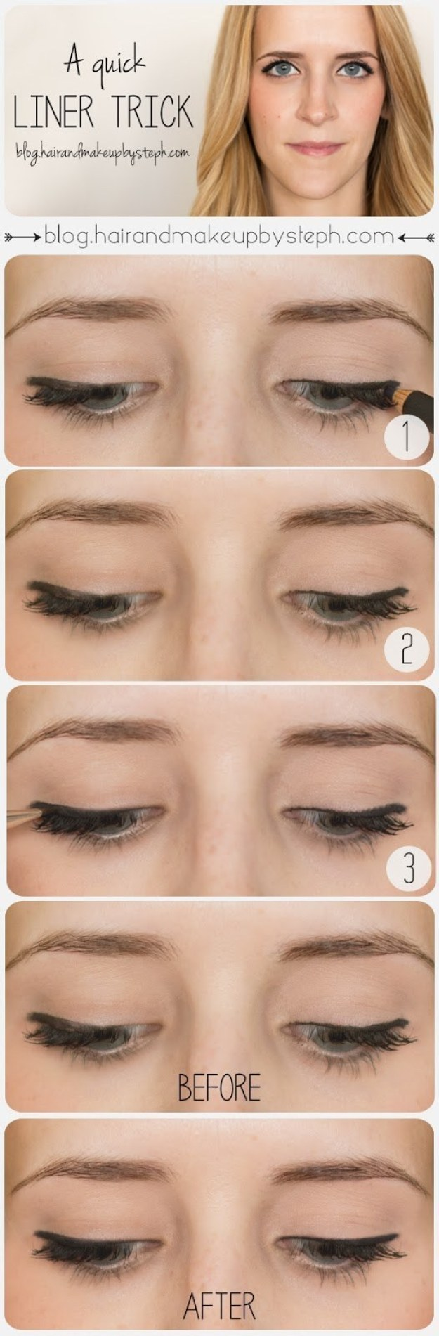 You can use a little bit of black eyeshadow to clean up a splotchy eyeliner line.