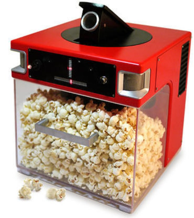 This popcorn machine that shoots popcorn straight into your mouth: