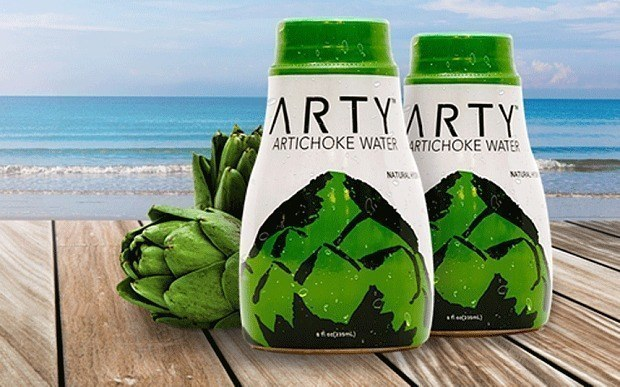 "This artichoke water named ""Arty."""