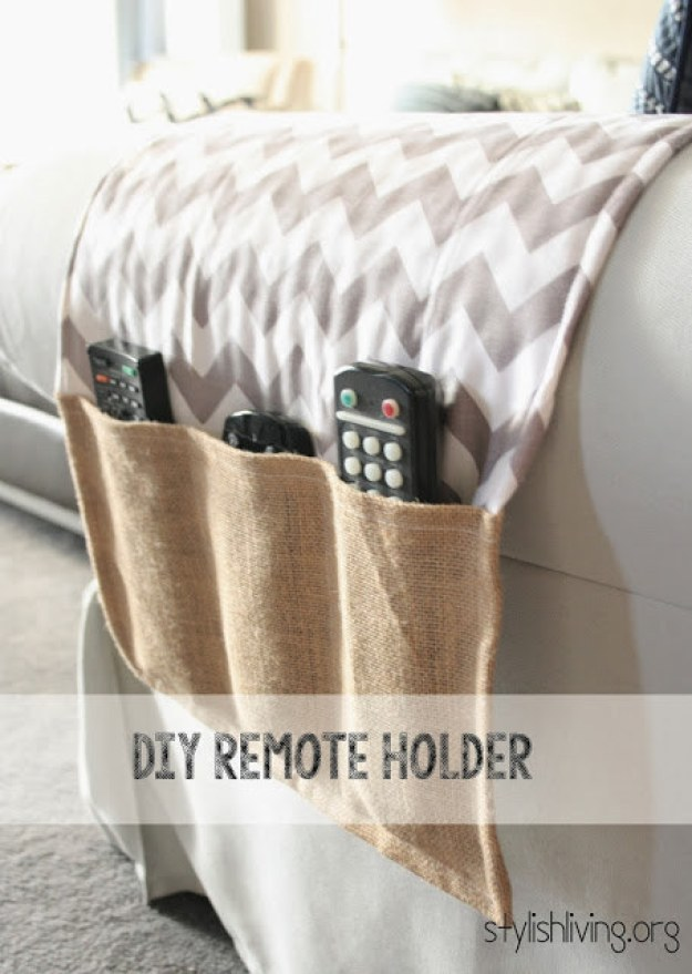 If you put your remotes in the weirdest places, stitch together a DIY holder.