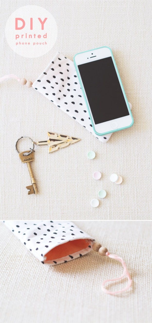 If your phone goes missing all too often, tuck it away in this DIY printed pouch.