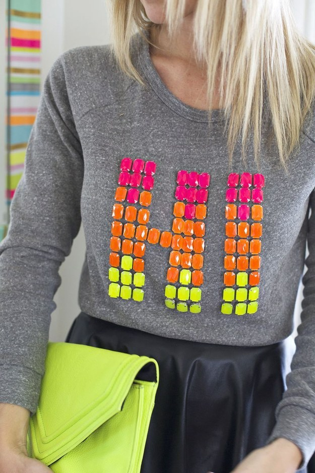 Upgrade a plain sweater or sturdy T-shirt with sew-on jewels that you can actually just glue.