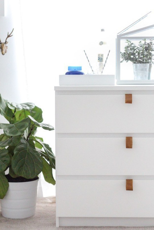 Upgrade your plain dresser drawers with leather pulls.