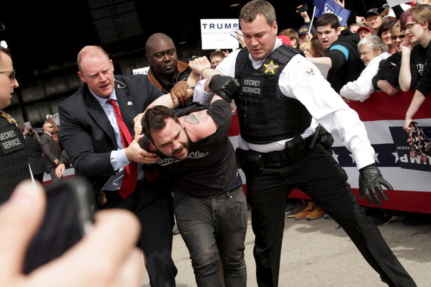 Pictures showed the man being detained and taken away by agents and a Secret Service spokesperson told BuzzFeed News the suspect was arrested by the Dayton Police Department.