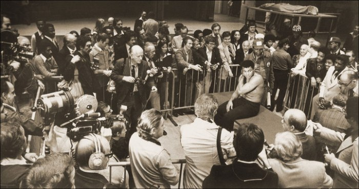 Press conference hours before the Earnie Shavers fight, Madison Square Garden, 1977.