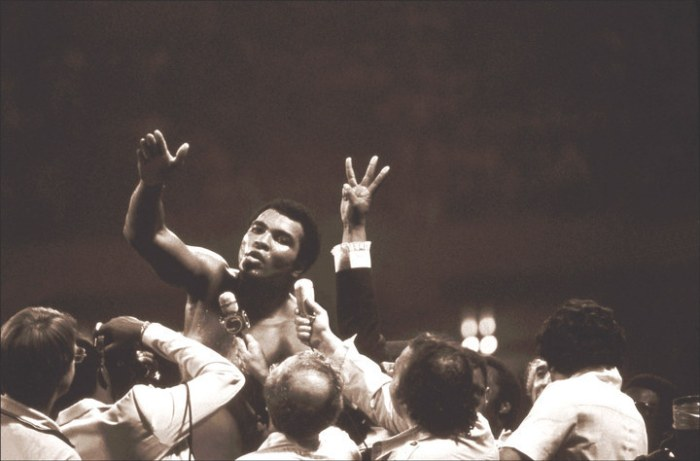Ali beat Spinks to win the heavyweight world championship for an unprecedented third time. His bodyguard, Pat Patterson, shot his hand into the air in the press scrum: three. Ali's record stands unbeaten. It was the last win of his professional career.